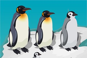 Penguin family on ice