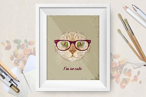 Hand drawn vector cute cat