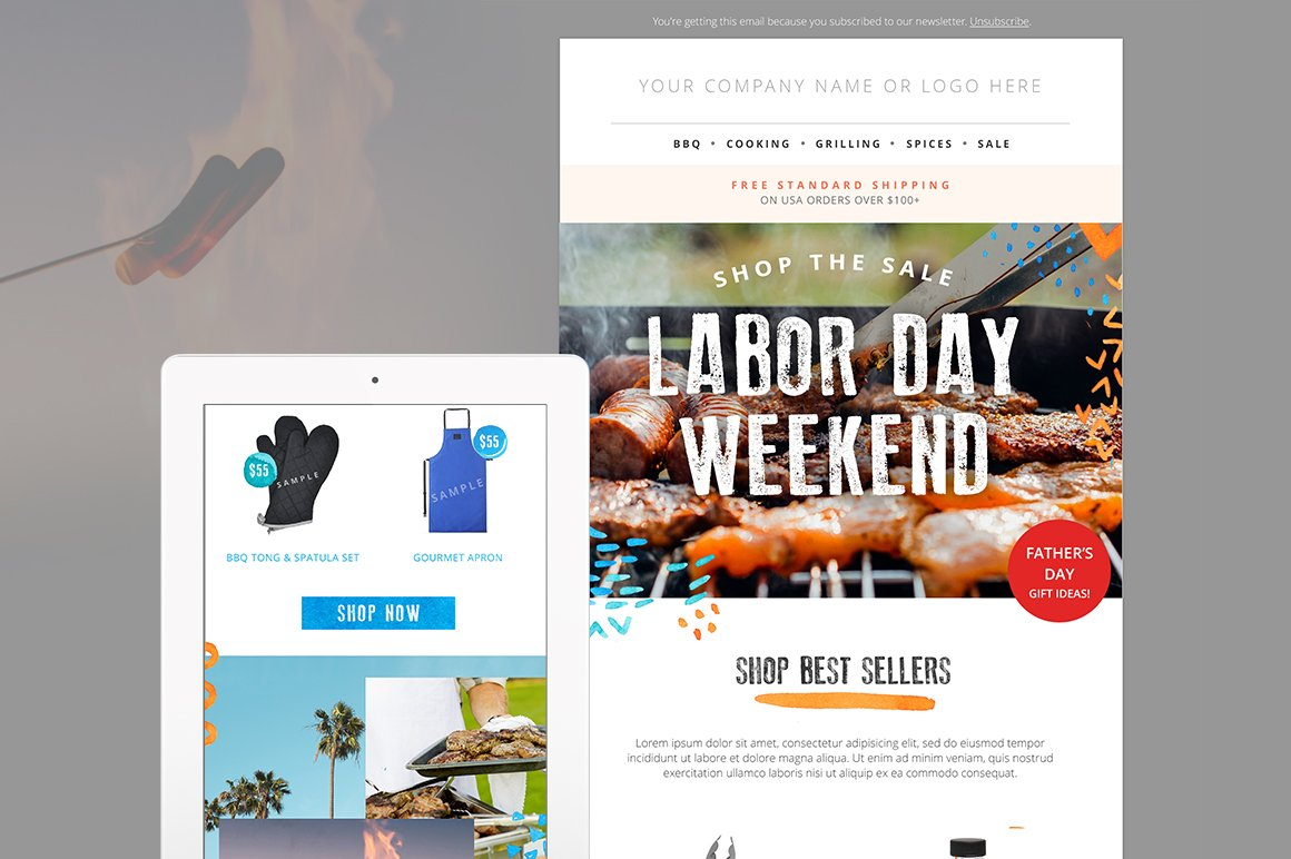 BBQSummer Sale Email Template PSD Email Templates Creative Market - Mail newsletter template
