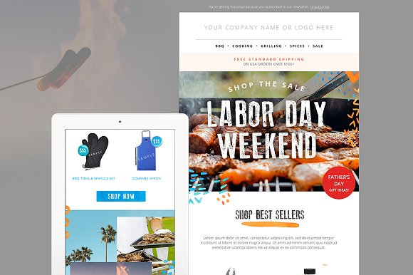 bbq summer sale e mail template psd email templates creative market