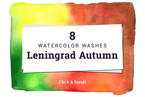 8 Watercolor Washes - Autumn