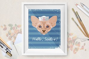 Hand drawn cat sailor