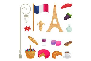 France icons set, cartoon style