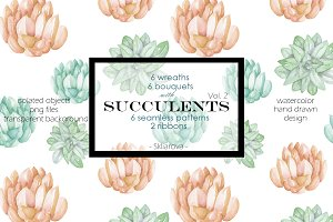 Succulents watercolor coll., vol. 2