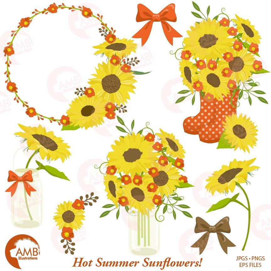sunflower clipart frames 1434 illustrations creative market - Sunflower Picture Frames