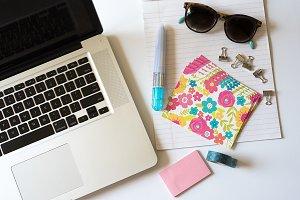 Pink and Aqua Girly Notes Flat Lay