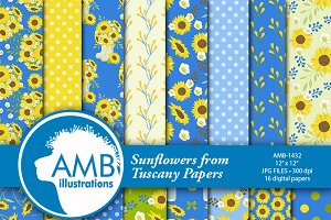Sunflower Digital Papers 1432