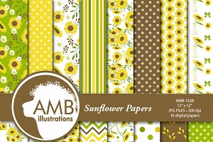 Sunflower Digital Papers 1428
