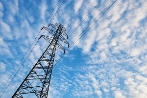 Electricity transmission pylon.