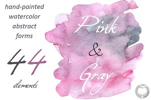 Pink & Gray - watercolor clipart
