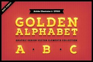 Golden Alphabet Characters