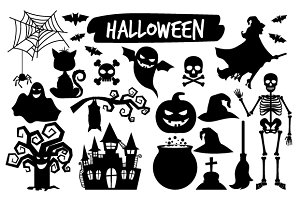 Halloween black silhouettes