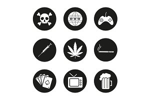 Addictions. 9 icons. Vector