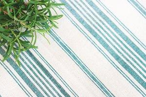 Rosemary sprigs on a napkin