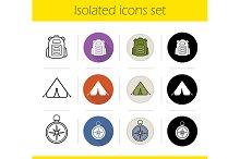 Camping. 12 icons set. Vector