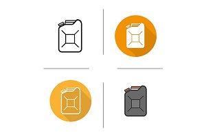 Gasoline canister. 4 icons. Vector