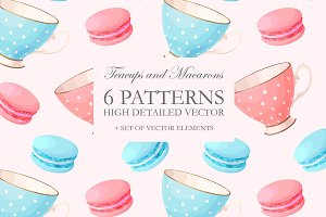 Teacups and Macarons Patterns