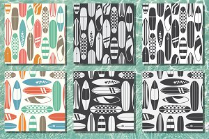 Retro Surfboard Pattern Set