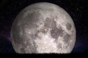 Full moon at night.