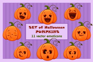 Set of vector halloween emoticons