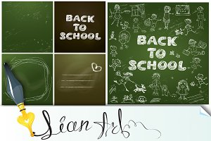 Set of 5 backgrounds - Chalkboard