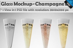 Glass Mockup - Champagne Glass Vol 8