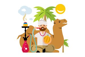 Arabic man with hookah