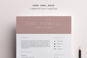 3 Page Resume Template | INDD + DOCX