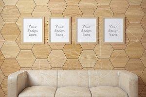 Set of four wooden frame mockup