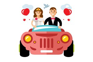 Newlyweds in a limousine