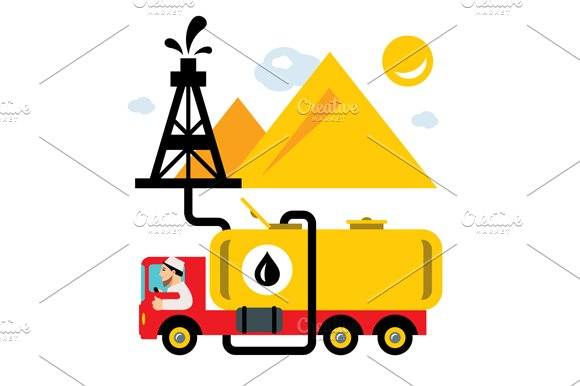 Arab Oil Industry. Delivery Vehicle - Illustrations