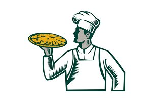 Pizza Chef Holding Pizza Woodcut