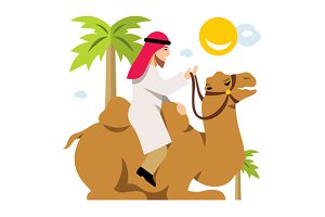Arab Cameleer. Riding a camel