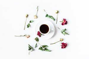 coffee, flowers