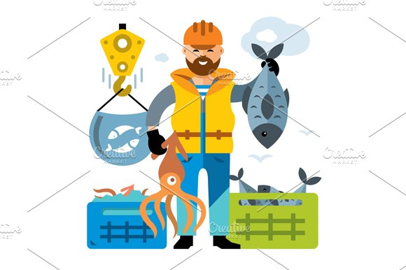 Sea port. Unloading seafood - Illustrations