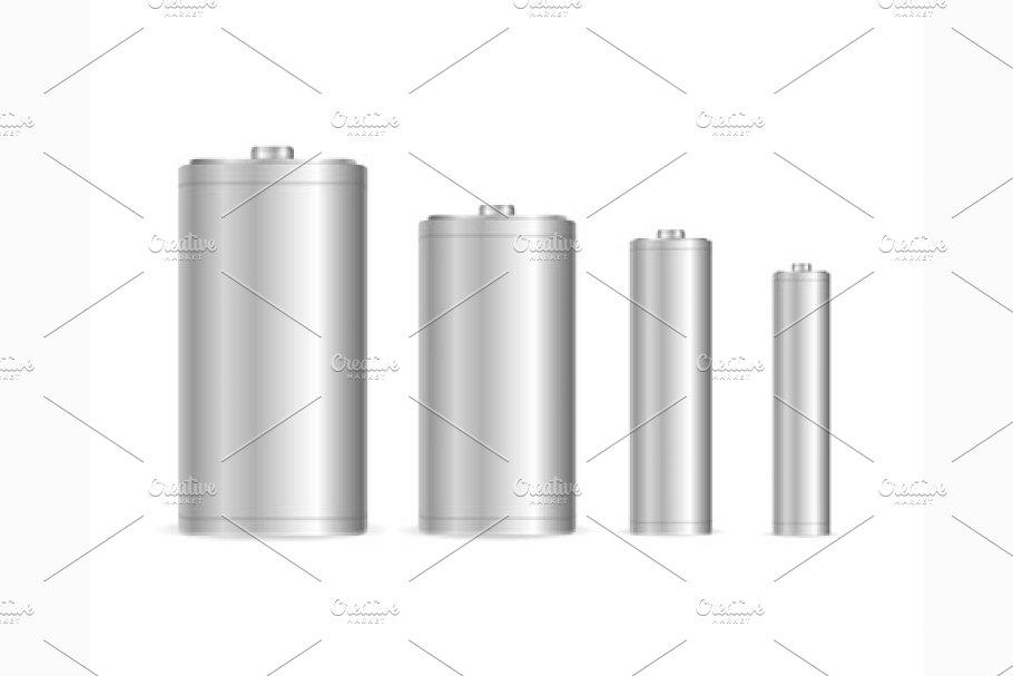 Battery Set Template Blank. Vector