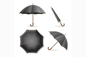 Black Umbrella Template Set.