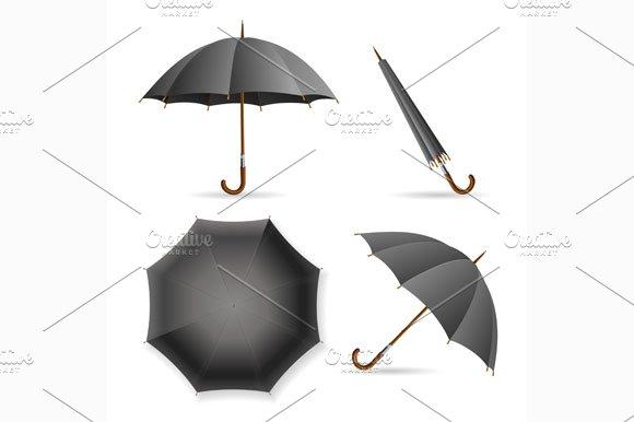 Black Umbrella Template Set.