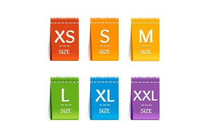 Color Size Clothing Labels Set.