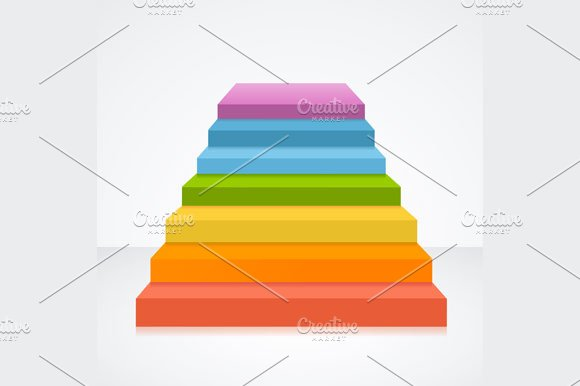 Stairs in Rainbow Colors. Vector
