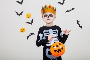 Little boy on the Halloween party.