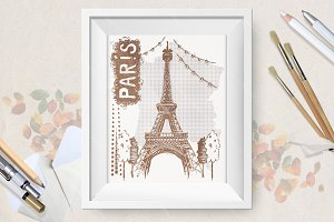 Sketch Eiffel Tower in Paris, France