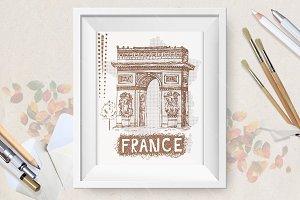Sketch Triumphal Arch in Paris