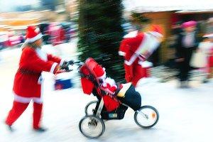 Santa Claus runs