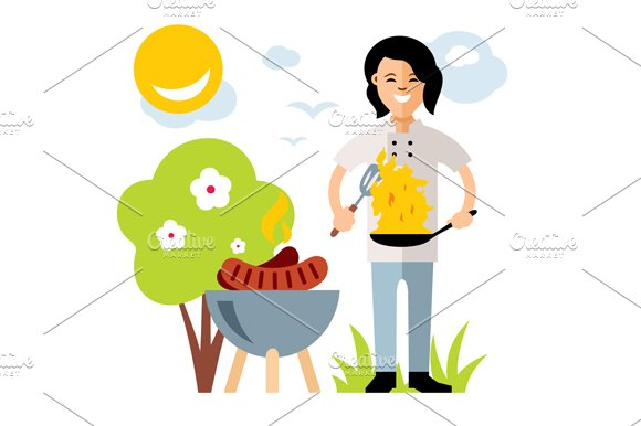 Cook with burning pan. Barbecue - Illustrations