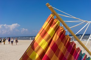 Colored hammock on the beach