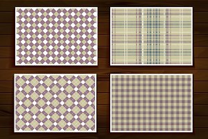 4 seamless tartan patterns.