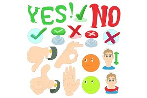 Yes or No icons set, cartoon style