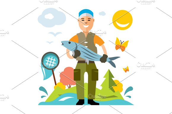 Fishing. Fisherman with big fish. - Illustrations