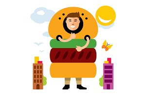 Happy hipster man in hamburger
